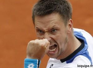 Robin Soderling en quart de finale de Roland Garros