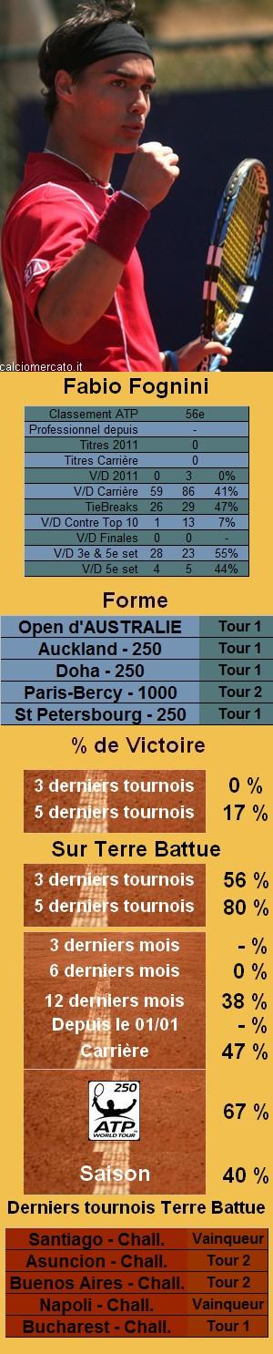Statistiques tennis Fabio Fognini