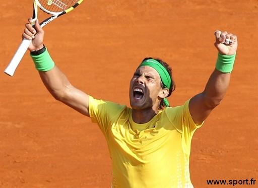 Rafael Nadal en joie après sa victoire à Monte Carlo.